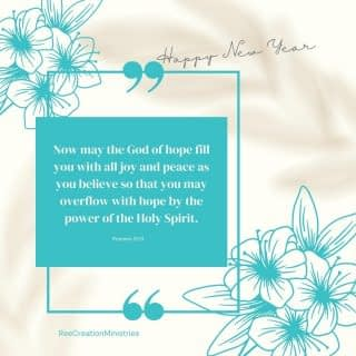 "To borrow the words of Paul, I pray this for you as we enter this New Year!⁠ ⁠ ""Now may the God of hope fill you with all joy and peace as you believe so that you may overflow with hope by the power of the Holy Spirit.""⁠ ⁠ Whatever 2021 may have in store, here's to more hope, joy, and peace for us all. Have a Blessed New Year!!!⁠ .⁠ .⁠ .⁠ .⁠ #HappyNewYear #Hello2021 #Goodbye2020 #Hope #Joy #Peace #LifeWithPurpose #MentalHealthAwareness #DreamCreateInspire #FaithAndMentalHealth"