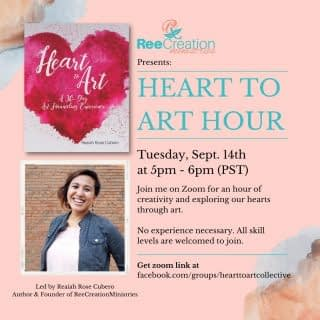 Join me tonight for a virtual Heart to Art hour. 5pm (PST) / 7pm (CST) / 8pm (EST)  We will gather on Zoom for one hour of creativity and exploring our hearts through art.  We will take a look at one of the activities from inside my new book Heart to Art. (You can still participate even if you don't have the book)  Suggested Materials: Your choice of canvas: Blank paper, blank canvas, or even digital canvas Some things to create images with: Pens, colored pencils, paint, or even magazines to cut and glue.   No experience is necessary. All skill levels are welcome. Just come ready with your supplies and use this time to let your emotions and creativity flow within a safe space.  DM me for the zoom link or visit the Heart to Art Collective Facebook group (see link in bio)  Hope to see you tonight! . . . . #FaithAndMentalHealth #MentalHealthAwareness #Depression #Anxiety #ChristianMentalHealth #HealingJourney #HopeForNewBeginnings #ThereIsAlwaysHope #MentalEmotionalSpiritualWellness #MentalHealthMatters #HeartToArt #HealingThroughArt #LifeWithPurpose #IdentityInChrist #DreamCreateInspire #ReeCreationMinistries #ChristianLiving #ChristianEncouragement #ChristianInspiration #FaithJourney #FaithInspired  #FaithWriters