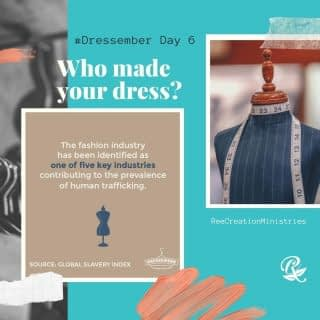 DRESSEMBER DAY 6⁠ ⁠ Look down - see what you are wearing. Do you remember where you bought your outfit? Do you know where it was made? Do you know who made it? Do you know if they were employed freely or paid a living wage? ⁠ ⁠ If you do not know the answers to these questions, you may need to take a step back and begin looking more intentionally at the labels on your clothes, and then taking the time to research the hands that made them. Unfortunately, some of the most popular brands are created at the hands of forced laborers. ⁠ ⁠ You can begin advocating even with how you choose to spend your money. There is an undeniable link between trafficking and fashion. Follow @dressember to learn more about conscious consumerism and anti-trafficking and donate at https://dressember2020.funraise.org/fundraiser/reaiah-cubero (see link in bio) ⁠ ⁠ We're in this together. ⁠ .⁠ .⁠ .⁠ .⁠ #Dressember #Dressember2020 #UntilAllAreFree #EndHumanTrafficking #BreakTheChains #EndModernDaySlavery #EndItMovement #AbolishSlavery #DressForACause #YouCanDoAnythingInADress #ItsBiggerThanADress #HumanTraffickingAwareness #DressemberAdvocate #NotForSale #LifeWithPurpose #FaithAndMentalHealth #DreamCreateInspire #ReeCreationMinsitries