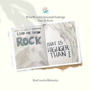 """One Word Art Journal Challenge: Day 23 - Rock  """"When my heart is overwhelmed lead me to the rock that is higher than I"""" - Psalm 61:2  In another translation, it starts as """"when my heart is without strength...""""  I love the contrast in that when I am feeling overwhelmed or without strength, I can go to the ROCK - my strong fortress, my foundation, one I can lean on - to find my strength and peace.  What do you do when you feel overwhelmed or without strength? Who do you turn to for support? . . . . #OneWordArtJournalChallenge #HeartToArt #Sketchbook #SpringJournal #Journaling #BulletJournals #ArtJournals #LinedJournal #PrayerJournals #PrayerJournal #FaithJournaling #ChristianJournal #ChristianJournals #GratitudeJournal #MentalHealthJournal #WomenJournal #JournalChallenge #AmazonKDP #FaithAndMentalHealth #MentalHealthAwareness #Depression #Anxiety #ChristianMentalHealth"""